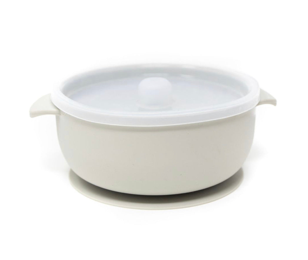 Colored Silicone Suction Bowl & Lid