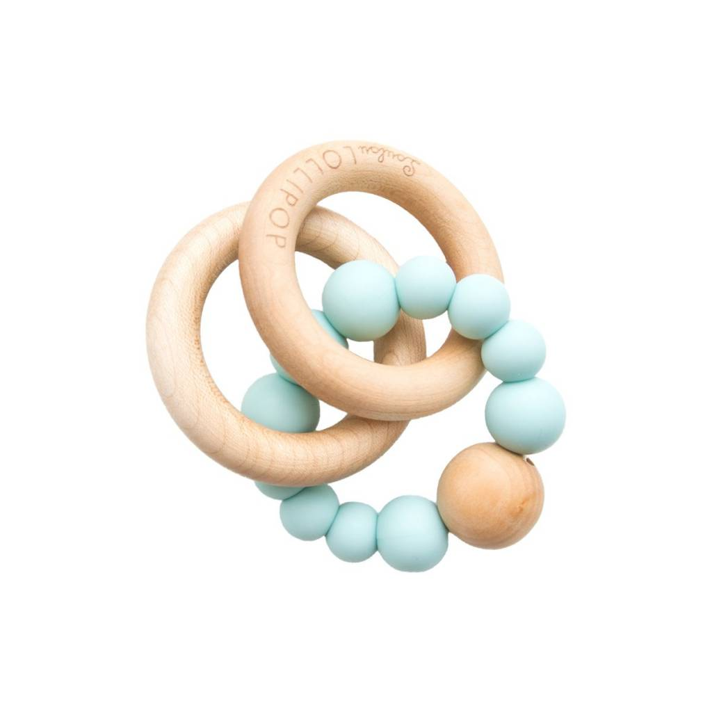 Trnity Wood and Silicon Teether - Robins Egg Blue