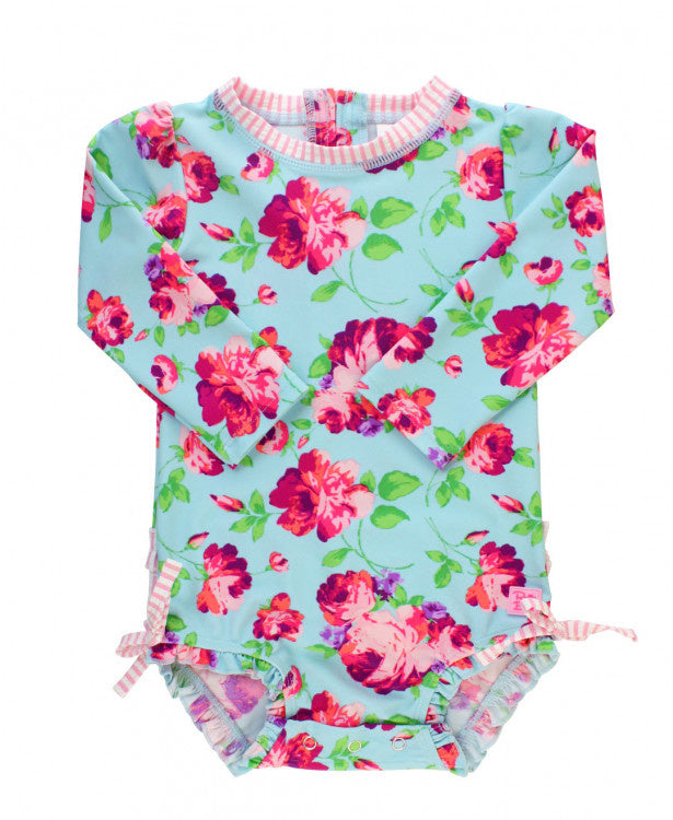 Rufflebutts Life is Rosy One Piece Rash Guard