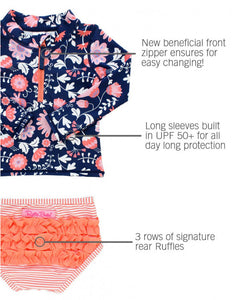 Botanical Beach Long Sleeve Rash Guard bikini w/zipper