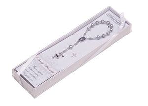 Sterling Silver Baby Rosary - Grey