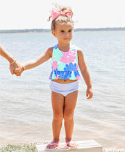 Load image into Gallery viewer, Rufflebutts Pastel Petals Peplum Tankini