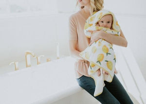 Cotton Hooded Towel & Washcloth Set- Lemons