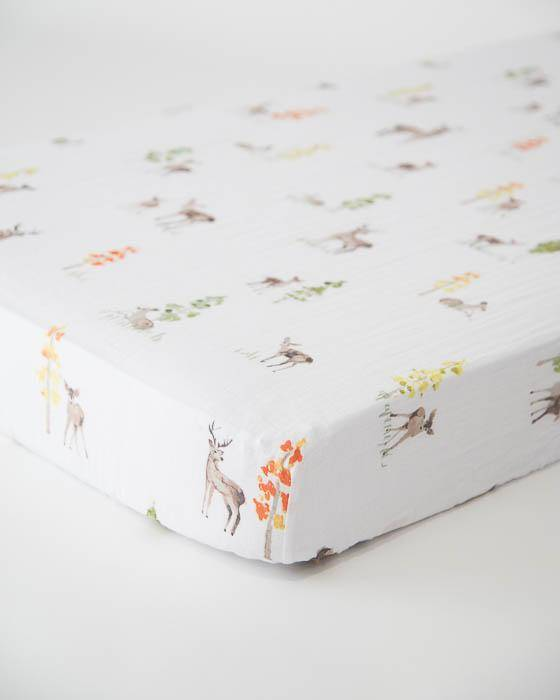 Little Unicorn Cotton Muslin Crib Sheet- Oh Deer