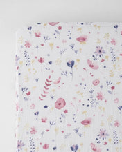 Load image into Gallery viewer, Cotton Muslin Crib Sheet- Fairy Garden