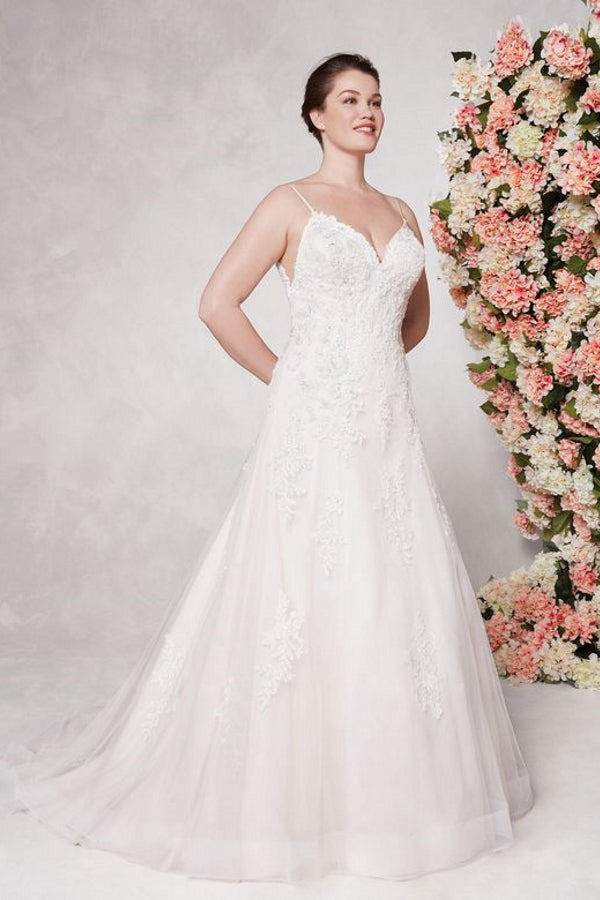 44091 by Sincerity is a stunning A-line gown featuring a V neckline with spaghetti straps and beaded lace appliques. The tulle skirt is decorated with beaded appliques throughout, a horsehair hem to give it structure and buttons at the zipper closure. Stunning designer discounted dress amazing quality for cheap sale price.