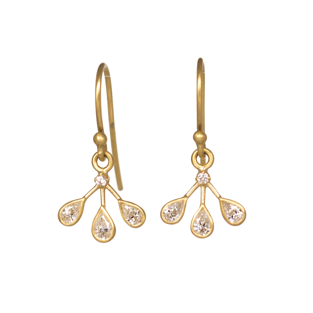 Diamond Teardrop 3 Petal Earrings
