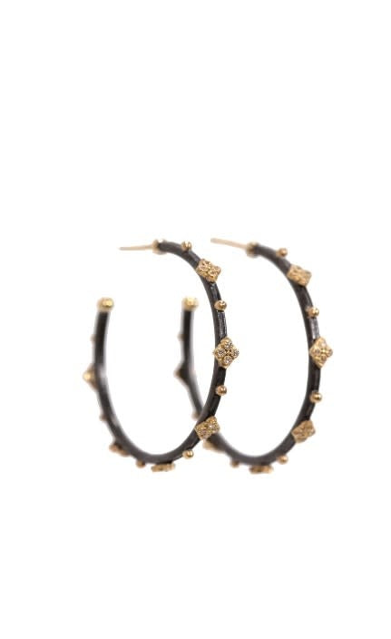 Old World Midnight Small round 35mm side hoops with white diamonds