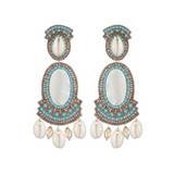 Puka Shell Large Drop Earrings-turquoise