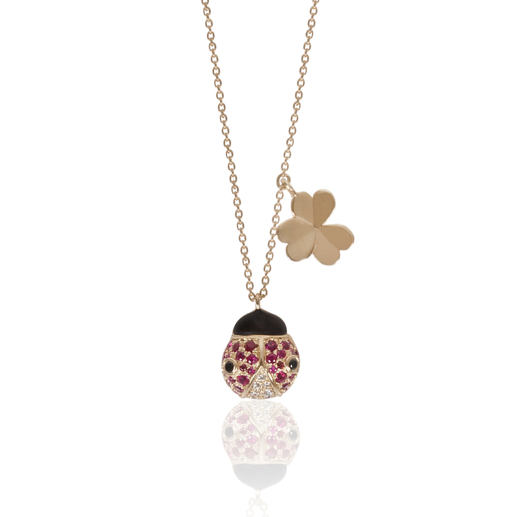Lady Bug Necklace with Ruby and Brown Diamonds
