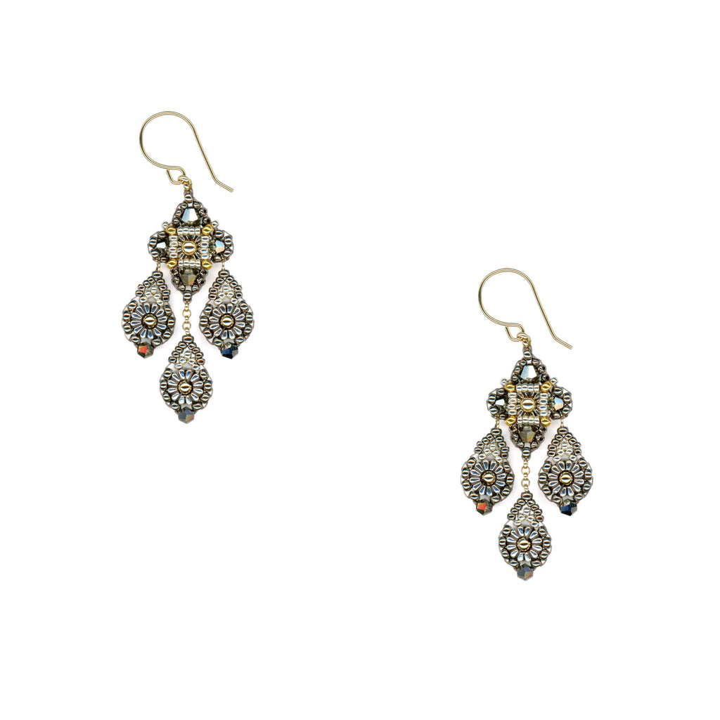 Pyrite Beaded Three Drop Earrings