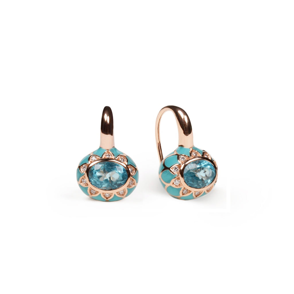 Blue Apatite and Turquoise Enamel Earrings