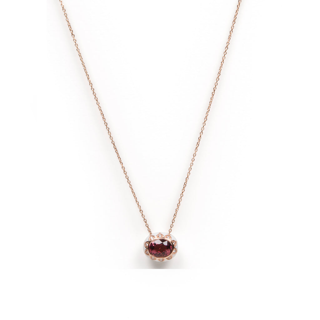 Pink Tourmaline with White Enamel Necklace