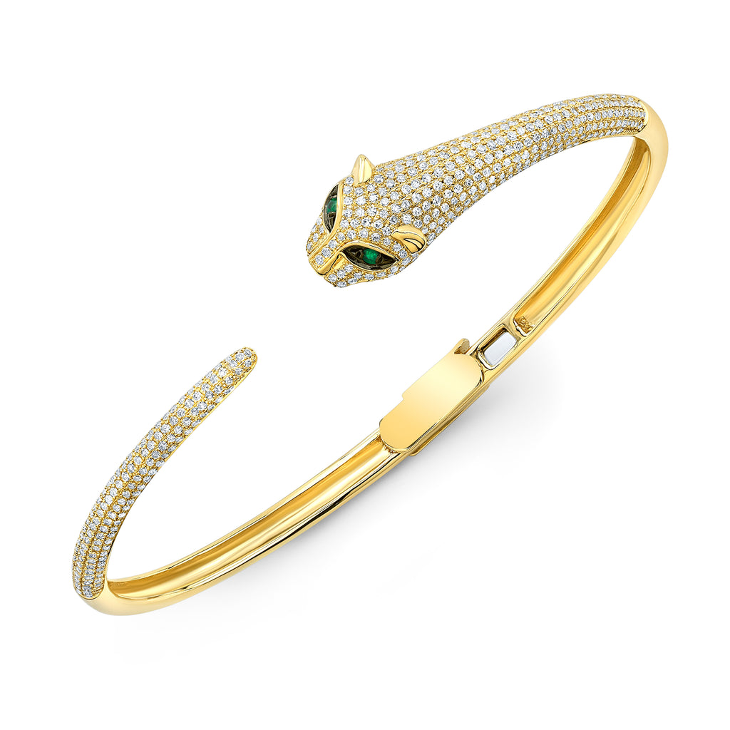 14KY Emerald Diamond Panther Cuff Bangle