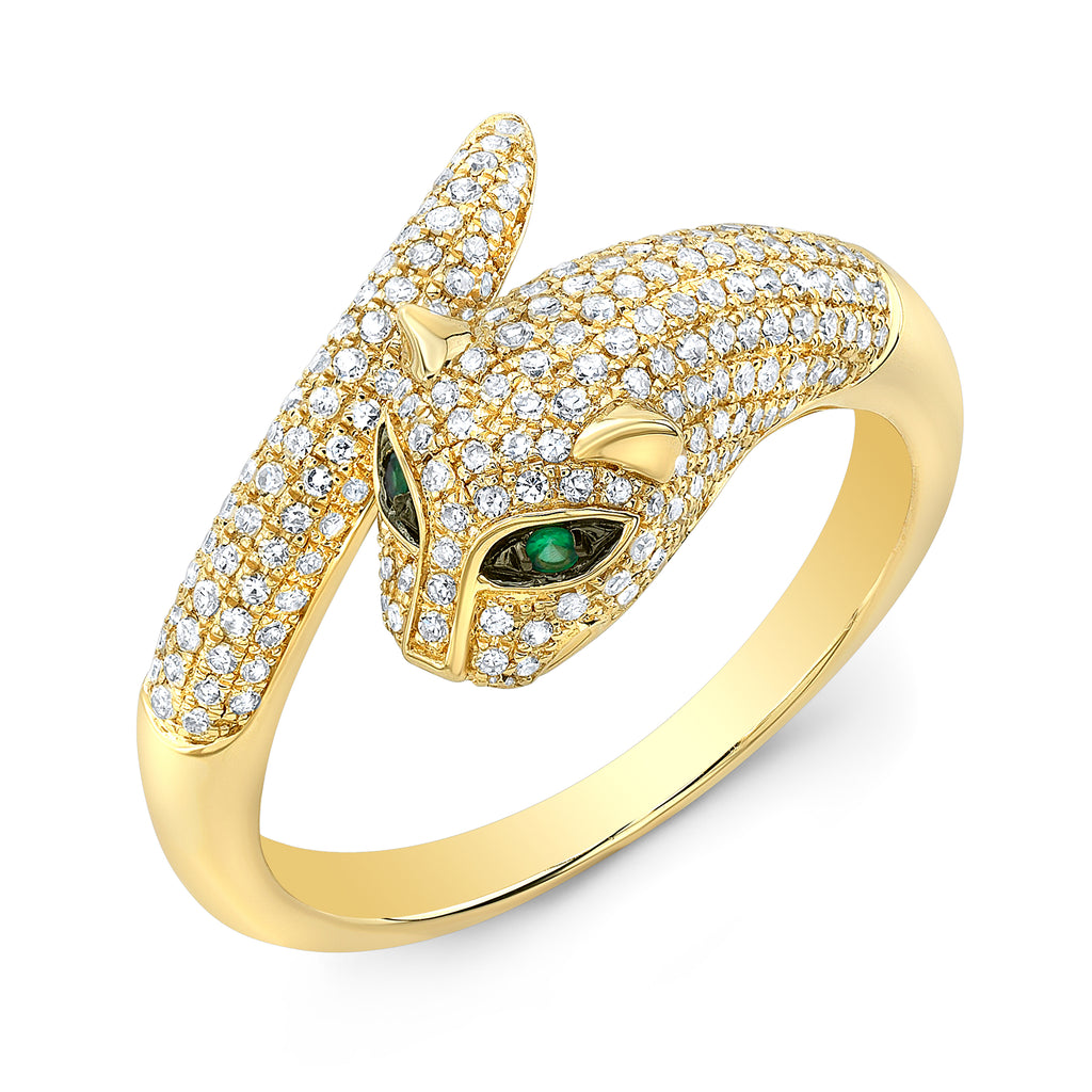 Panther Emerald Diamond Ring