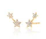 14KY Single Diamond Double Star Stud - Left Ear