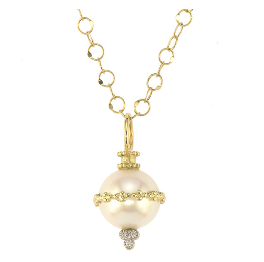 18KY Provence Pearl Beaded Pendant