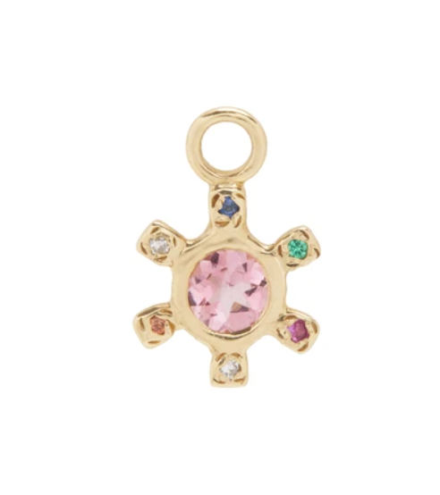 Pinwheel Pink Sapphire and Mixed Stones Earring Charm