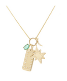 Diamond Tag and Starburst Charms Necklace with Oval Emerald and Crescent Moon