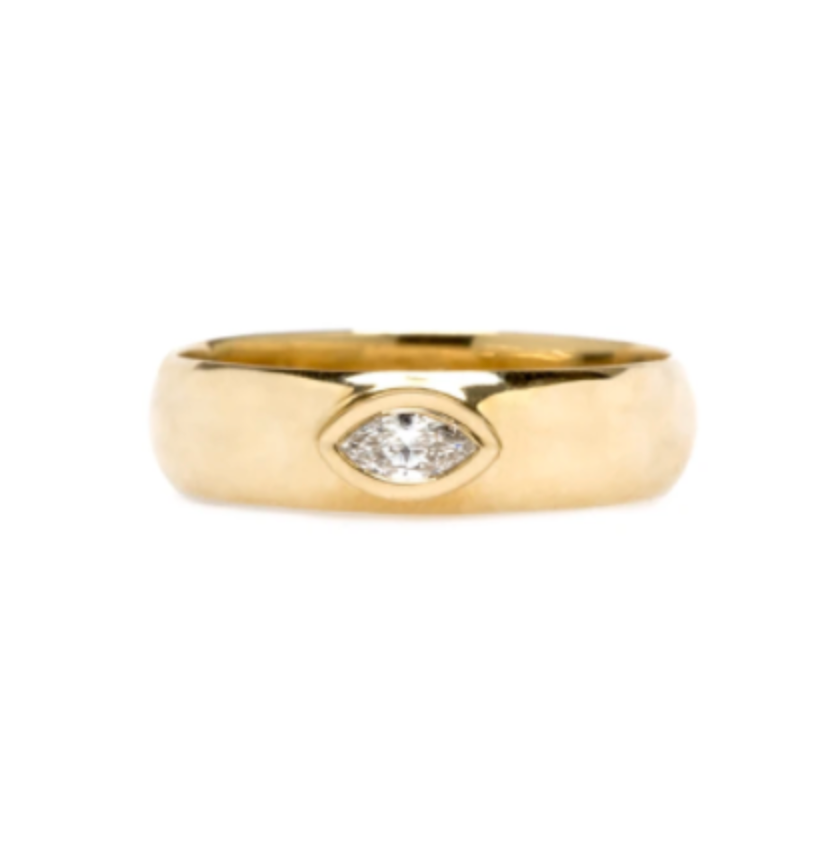 14K HALF ROUND RING WITH MARQUIS CUT DIAMOND