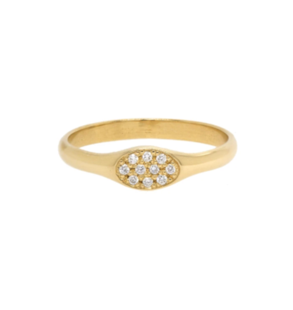 14k gold small oval pave signet ring