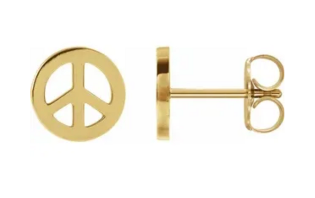 14KY Peace Sign Studs