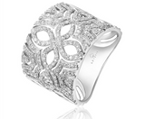 14k White Gold Flower Diamond Cigar Band