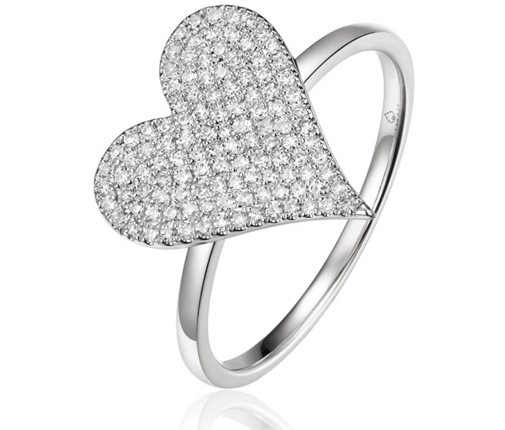 14K White Gold Pave Heart Ring