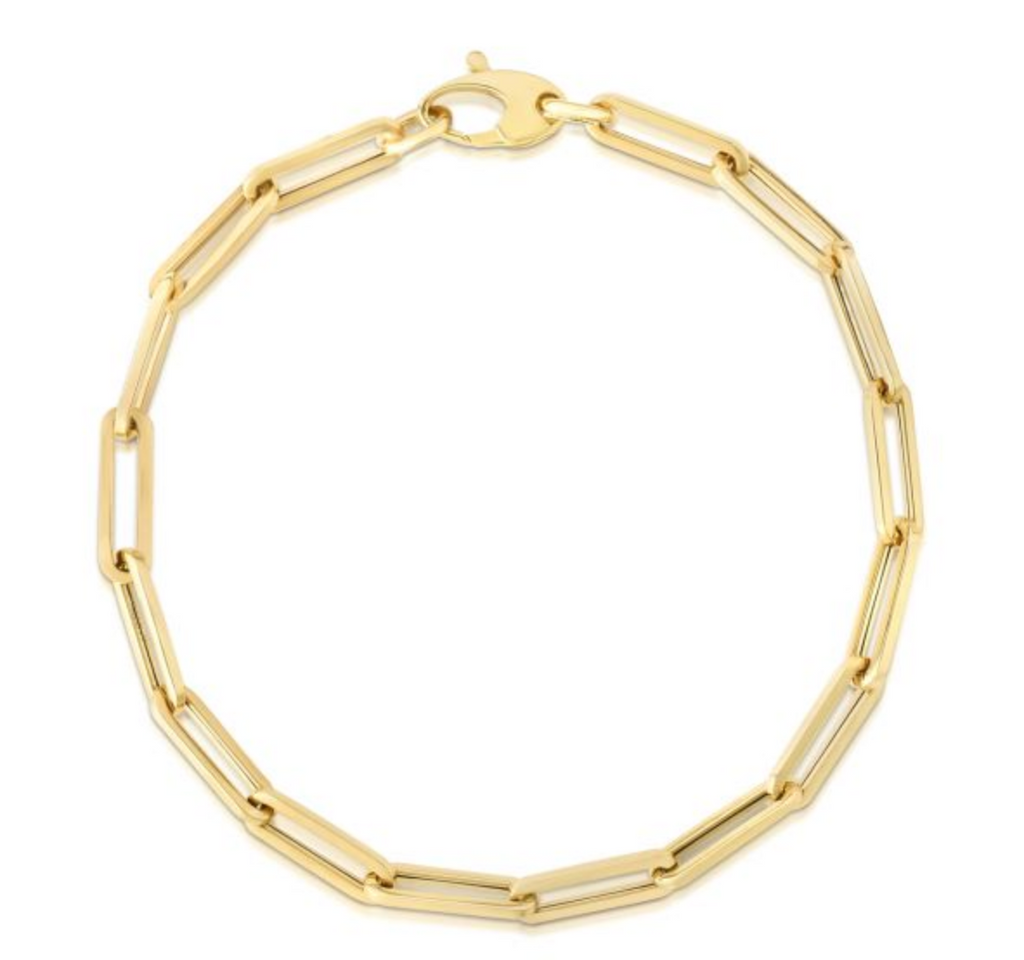 14k Yellow Gold 4.2mm Paperclip Bracelet