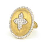Large Pave Quatrefoil Oval Shield Ring