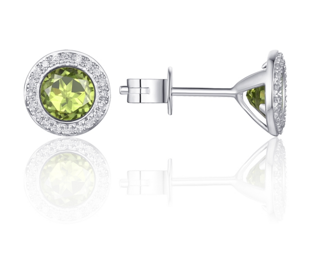 14KW Diamond Halo Stud Earring with Peridot Center