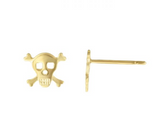 14K Yellow Gold Skull Stud Earring