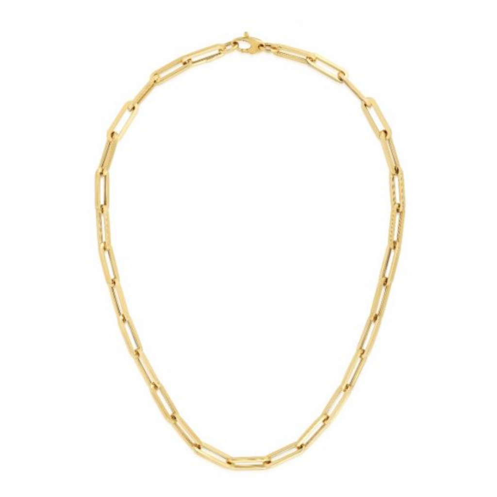 14k Yellow Gold 6.1mm Polished Paperclip Chain Necklace