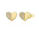 FOLDED HEART STUD EARRINGS