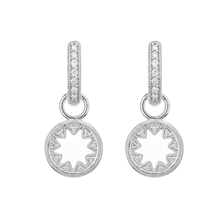 Tiny Lisse Half Kite Open Round Earring Charms
