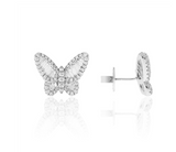 14K White Diamond Butterfly Studs