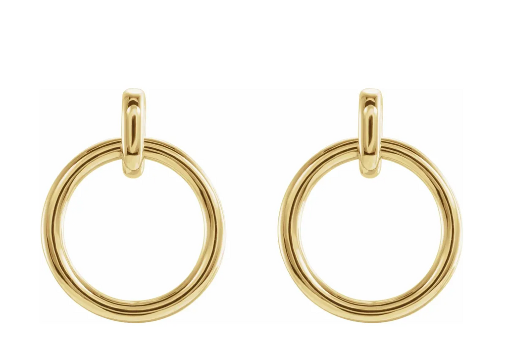14K Yellow Circle Dangle Earrings