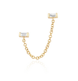 14KY Diamond Baguette Chain Double Stud (Single)