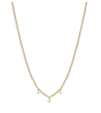 14k gold extra small hollow curb chain necklace with 3 prong diamonds