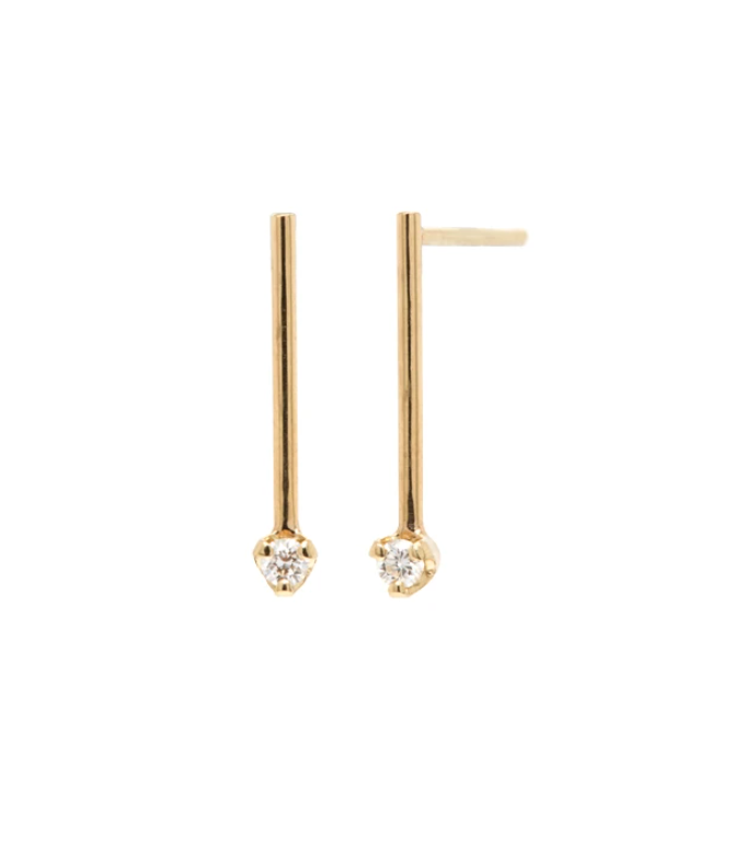 14k gold short matchstick bar earrings with prong set white diamonds
