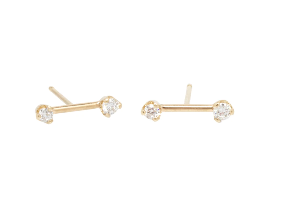 14K GOLD BARBELL PRONG DIAMOND STUDS