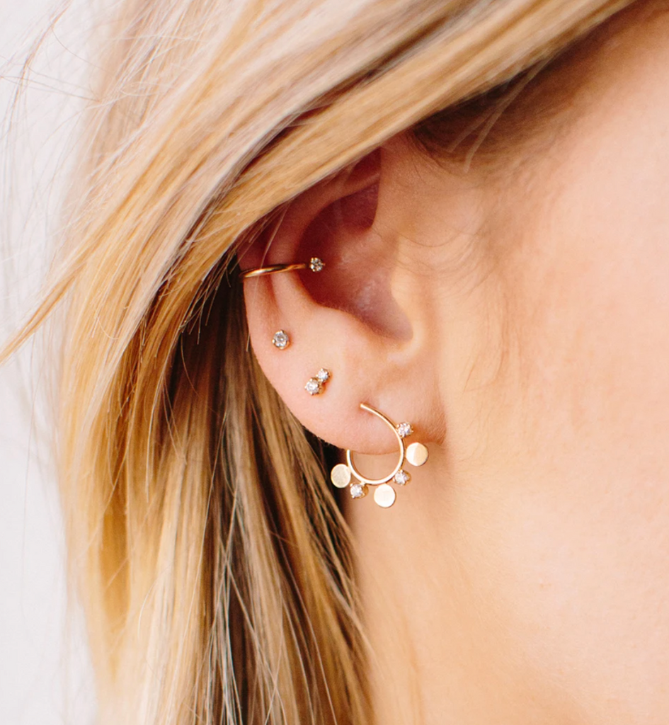 14K ITTY BITTY DISCS AND DIAMONDS FRONT FACING SMALL HOOPS