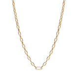 14K Gold Medium Square Oval Link Chain Necklace with Diamond Link