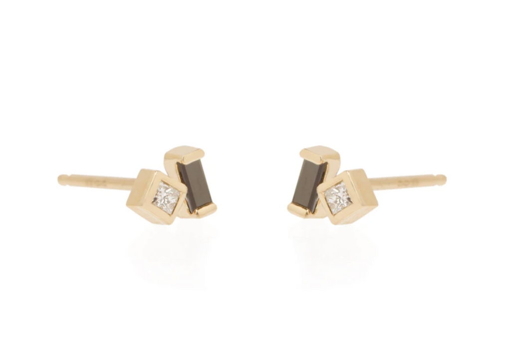 14K Mixed Black Baguette and Diamond Studs