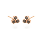 14K Gold Bezel Set Black Diamond Trio Earrings