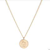 "14K SMALL MANTRA ""STAY IN YOUR MAGIC"" NECKLACE ON EXTRA SMALL CURB CHAIN"