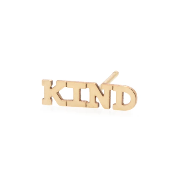 "14k gold tiny capital letter ""kind"" stud earring"