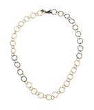 Old World 18K Yellow Gold Blackened Sterling Silver Necklace