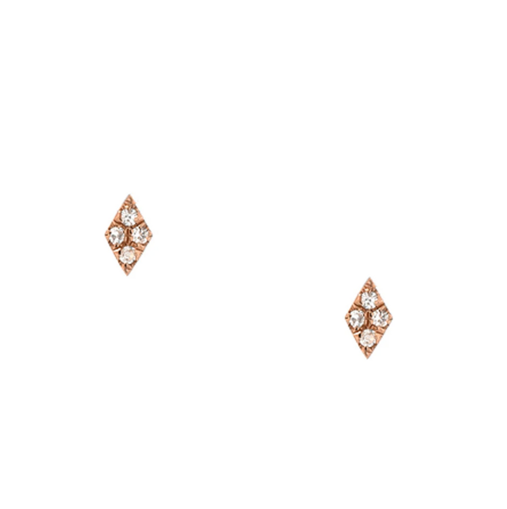 14K Rose Gold Pave Kite Stud