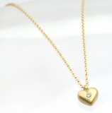 Micro Heart With Diamond Necklace